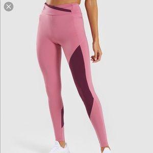 GYMSHARK ASYMMETRICAL LEGGINGS - dusty pink/ruby